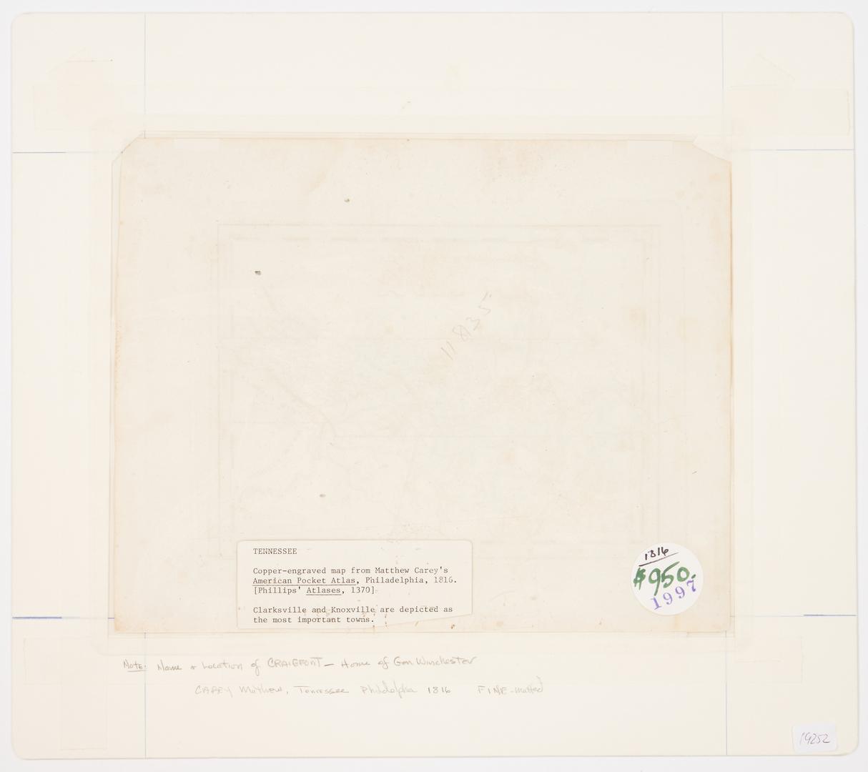 Lot 586: 4 TN/KY Maps, incl. Mathew Carey, 1816
