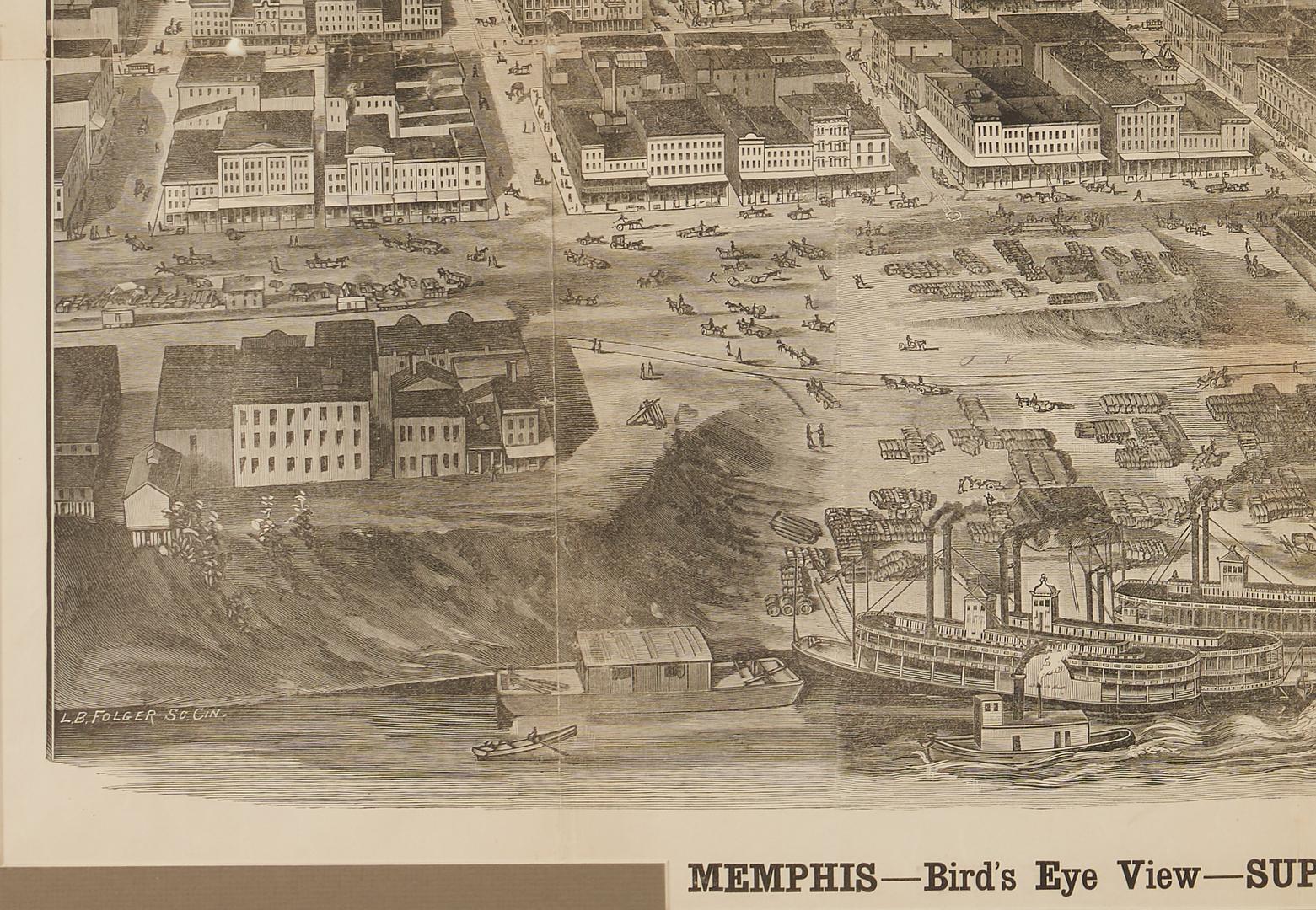 Lot 588: Bird's Eye View Map of Memphis TN