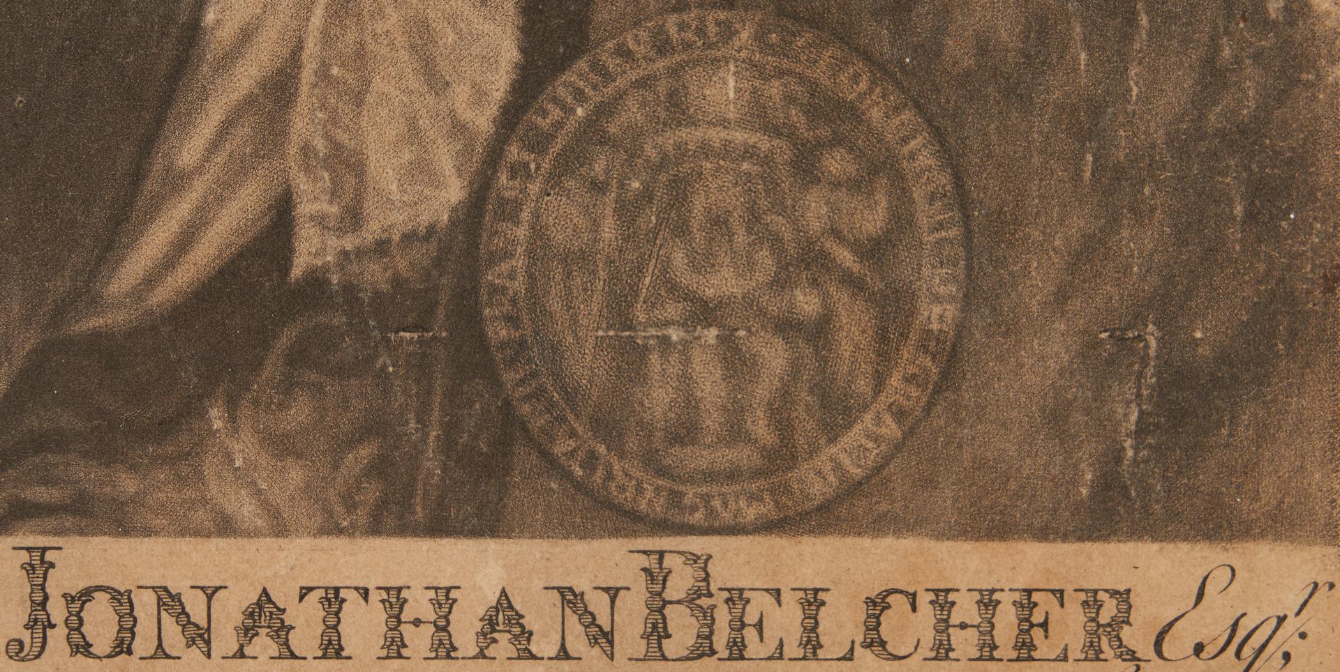 Lot 592: Portrait of Gov. Jonathan Belcher, engraved by Faber