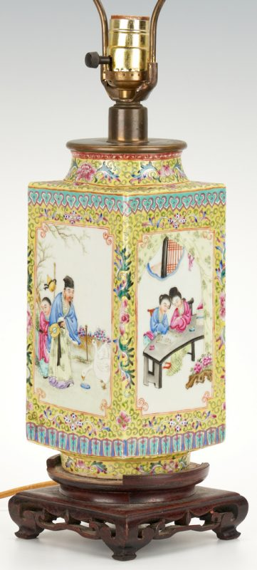 Lot 5: Chinese Famille Rose Cong Vase, mounted as lamp