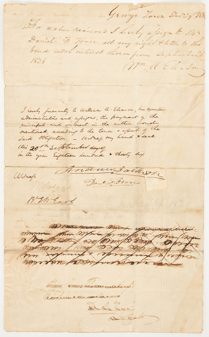 Lot 600: Andrew Jackson Signed Loan Guarantee, Slave Related
