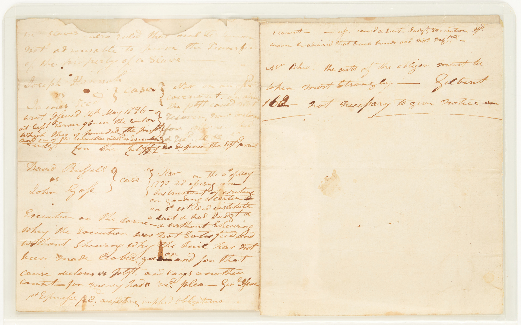 Lot 602: Andrew Jackson 1790s Legal Notes, Slave related