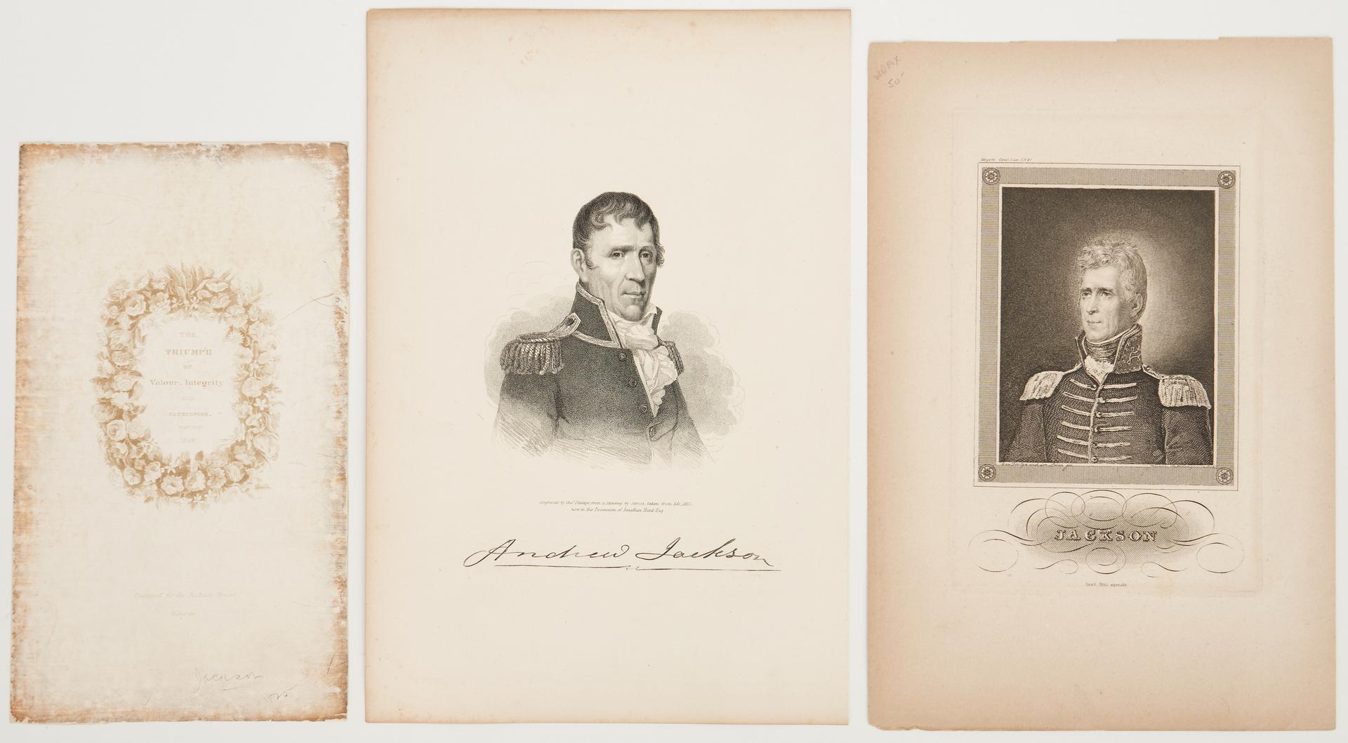 Lot 603: 2 Rare Engravings of Andrew Jackson plus Inaugural Souvenir