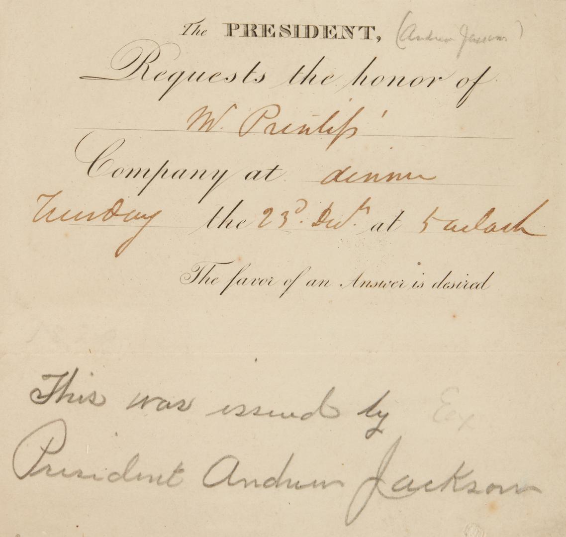 Lot 604: 19th c. White House Dinner Invitation, poss Andrew Jackson