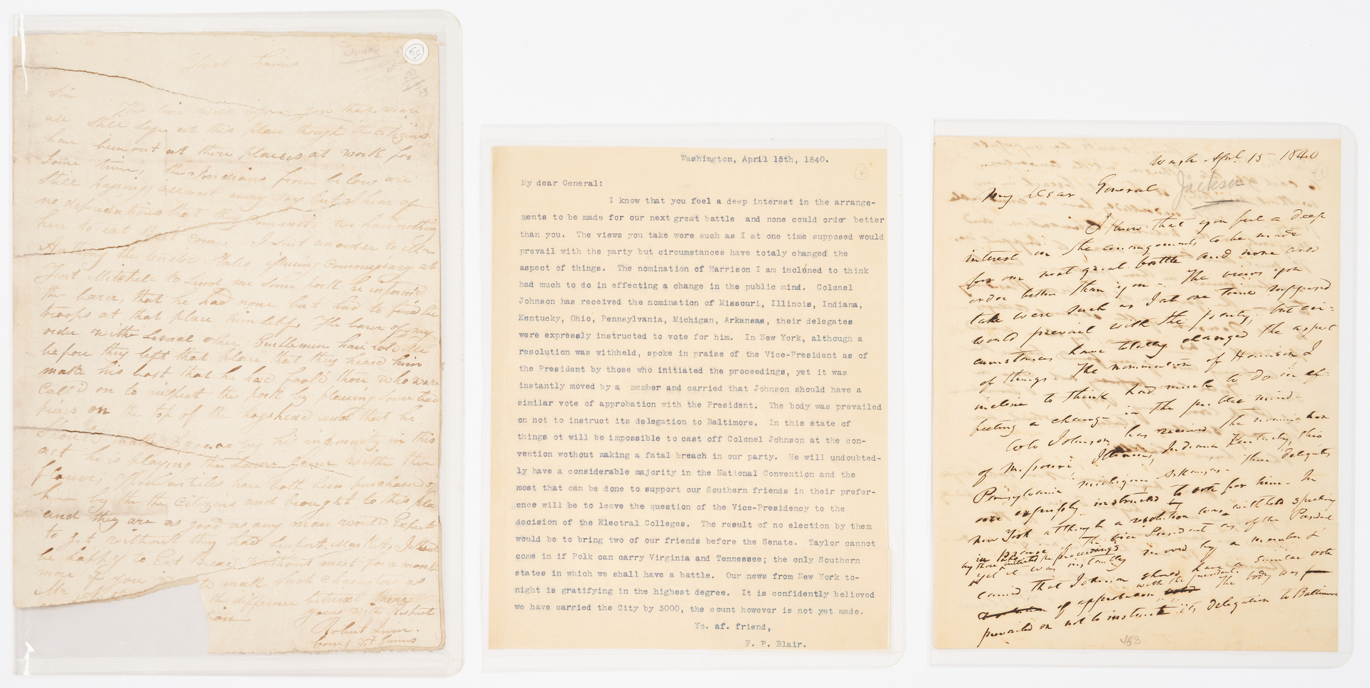 Lot 605: 2 letters to Andrew Jackson inc. Creek War, Francis Preston Blair