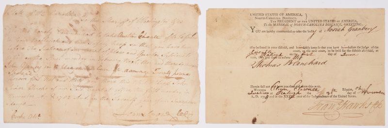 Lot 607: John Sevier and Oliver Ellsworth, 2 Signed Documents
