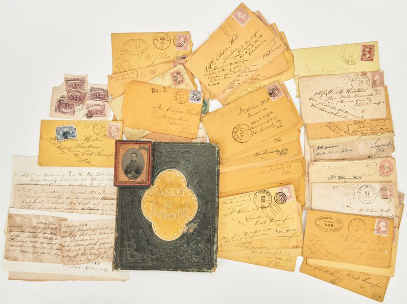 Lot 611: 63 Civil War ephemera items, incl. Soldier Ambrotype, Autograph Album, Johnson's Island Envelopes
