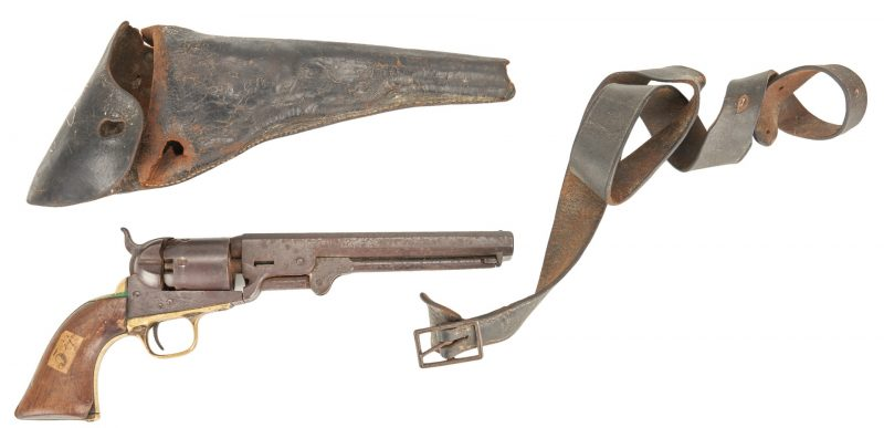 Lot 614: Civil War Era Colt Model 1851 Revolver, Belt, & Holster