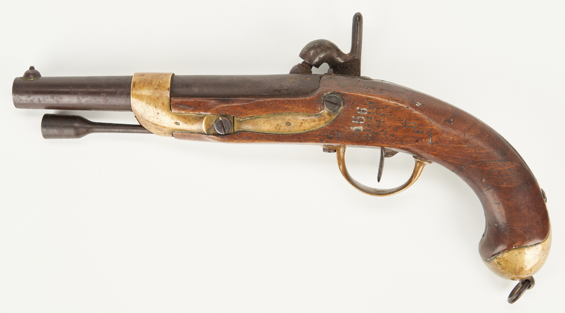 Lot 617: French Model 1822 T Bis Single-Shot Percussion Pistol, Charleville, .72 cal