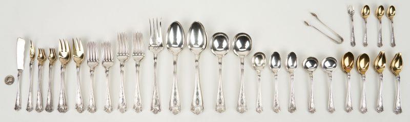 Lot 61: 91 Pcs. Tiffany Sterling Silver Flatware, Winthrop Pattern