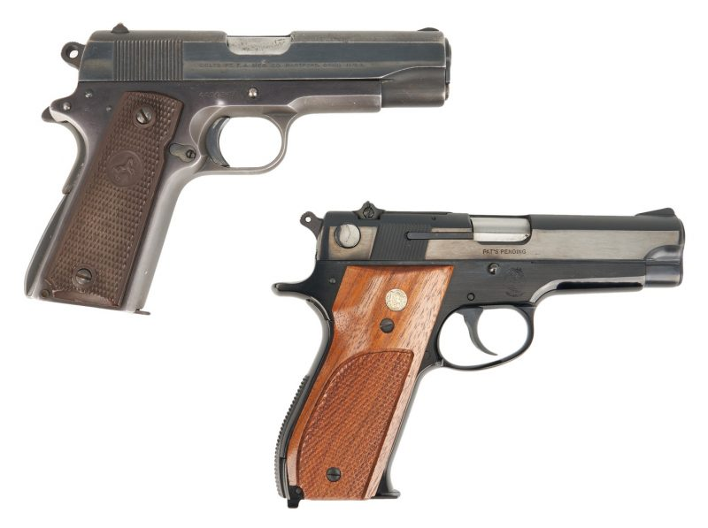 Lot 623: Boxed Smith & Wesson Pistol Model 39-2 plus Colt Commander Lightweight