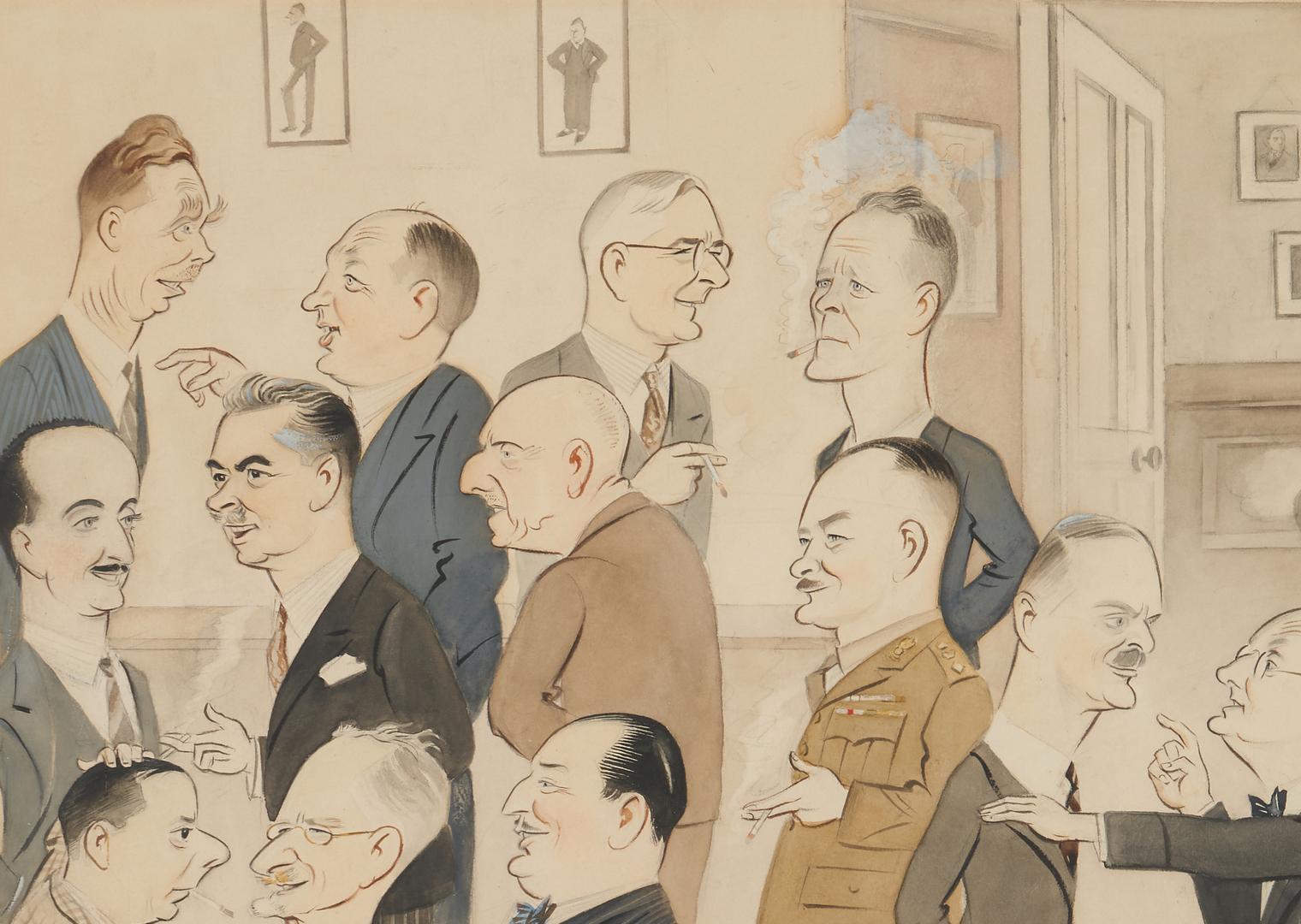 """Lot 626: World War II Era Caricature Illustration, """"Press Club"""""""