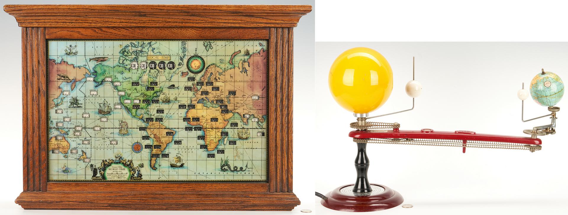 Lot 634: Trippensee Planetarium Co. Tellurian Model + Howard Miller World Map