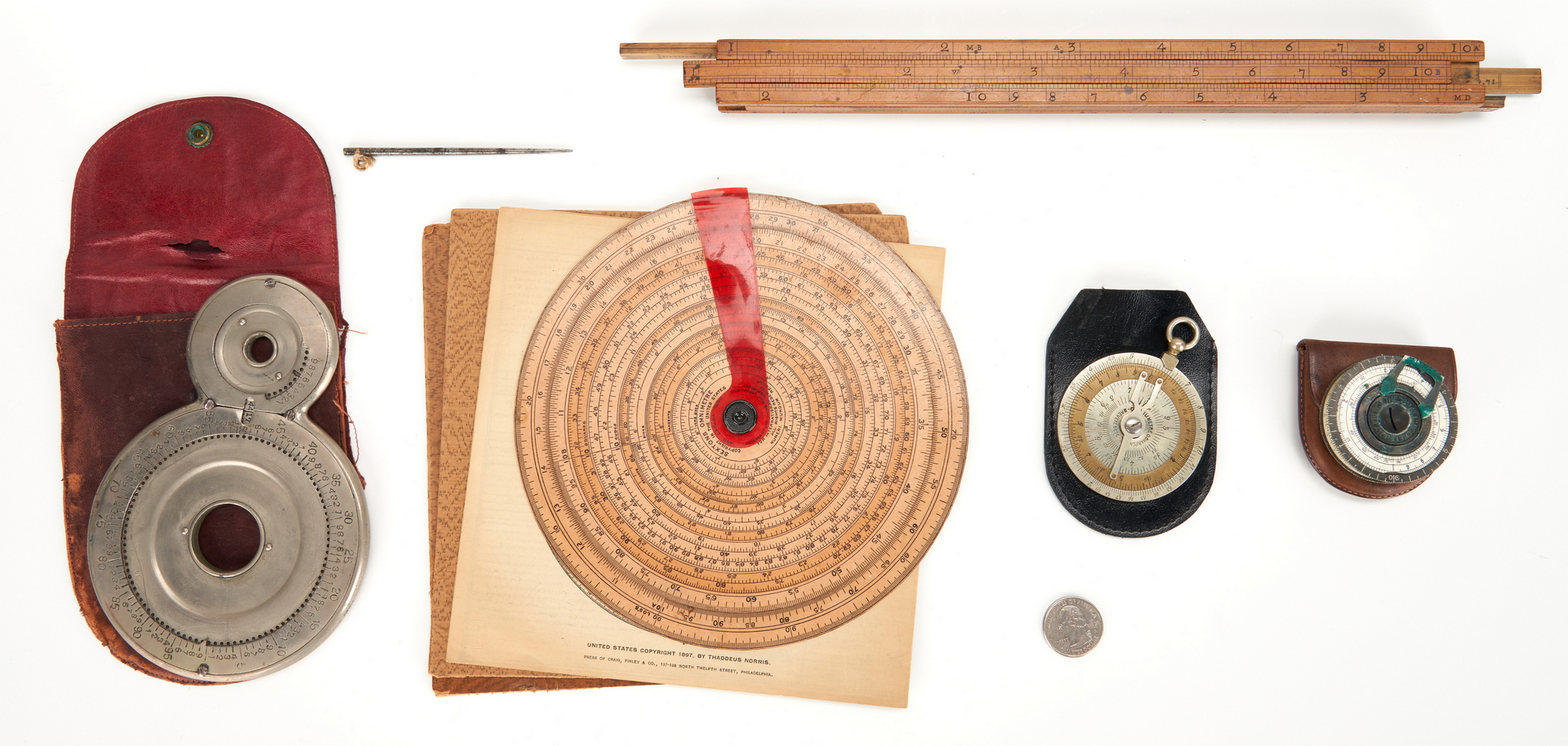 Lot 639: 5 Early Calculators/Slide Rules, incl. G. Small