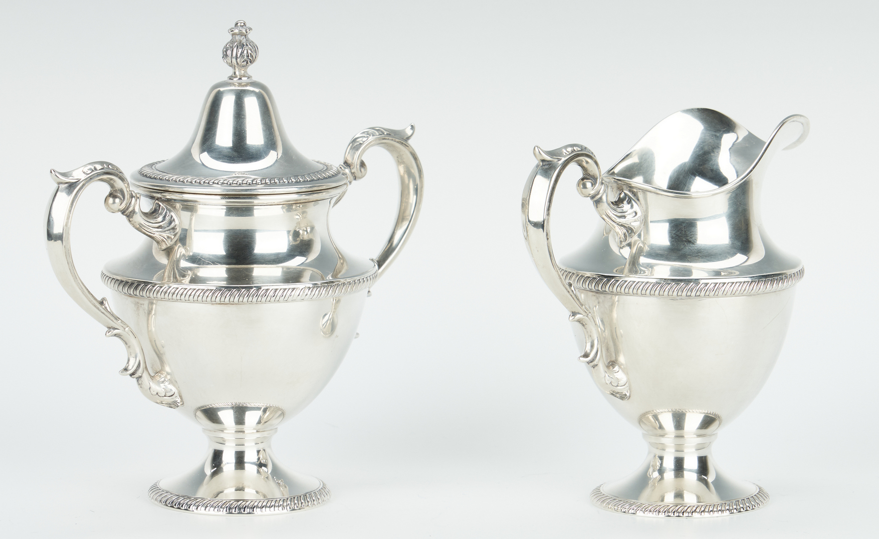 Lot 63: Fisher Sterling 4 pc. Tea Service, w/ plated tray