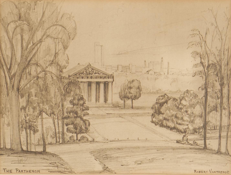 Lot 661: Max Hochstetler Expressionist Painting plus Vantrease Nashville Prints