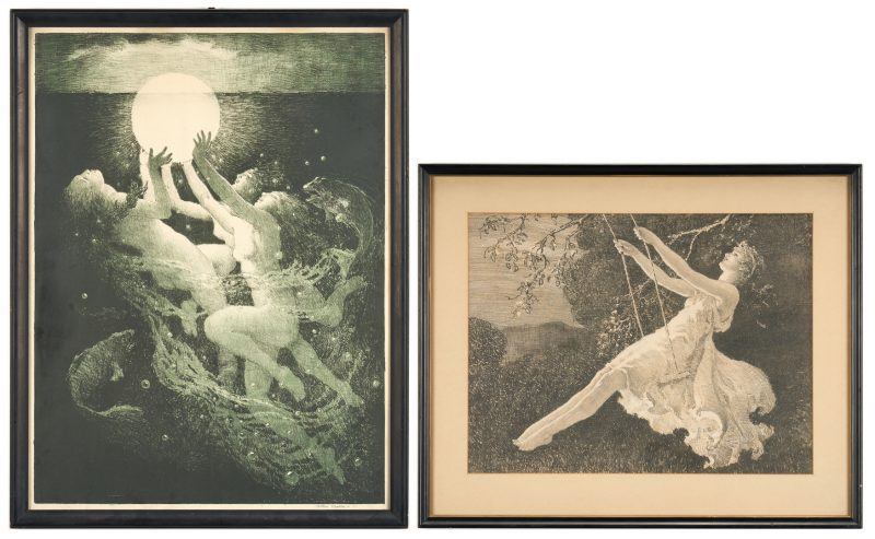 "Lot 663: 2 Arthur Spear Figural Prints, ""Sunrise"" and ""The Swing"""