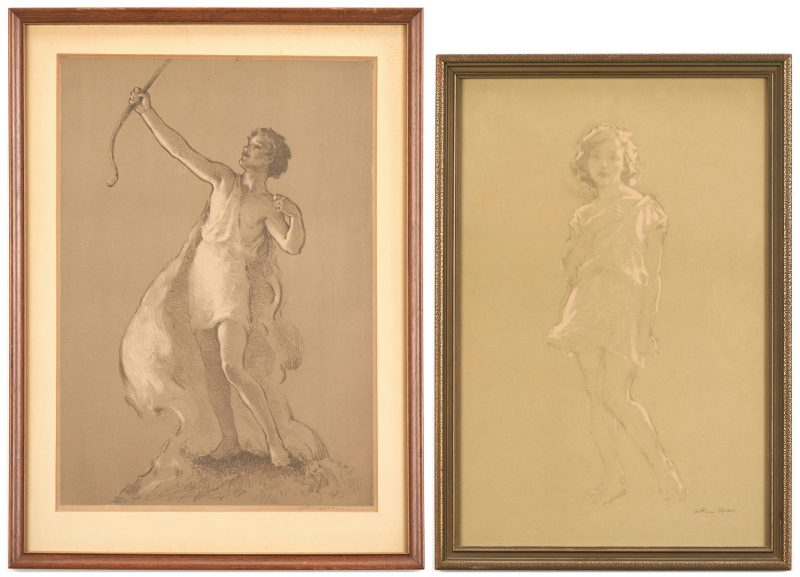 Lot 664: 2 Arthur Spear Figural Prints, Girl & Youth