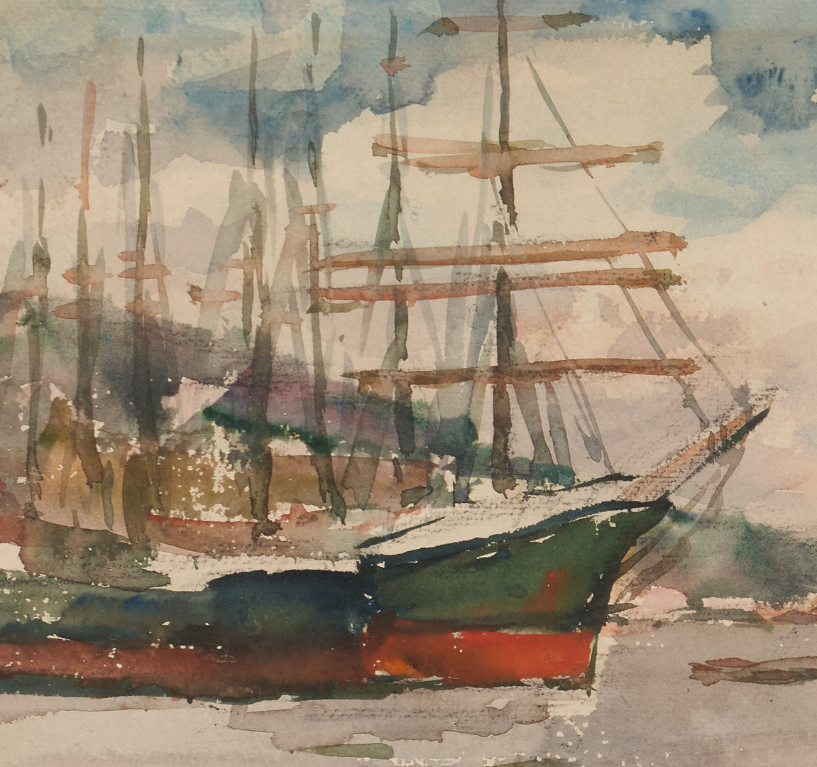 Lot 671: Watercolor Harbor Scene, Signed Forkner