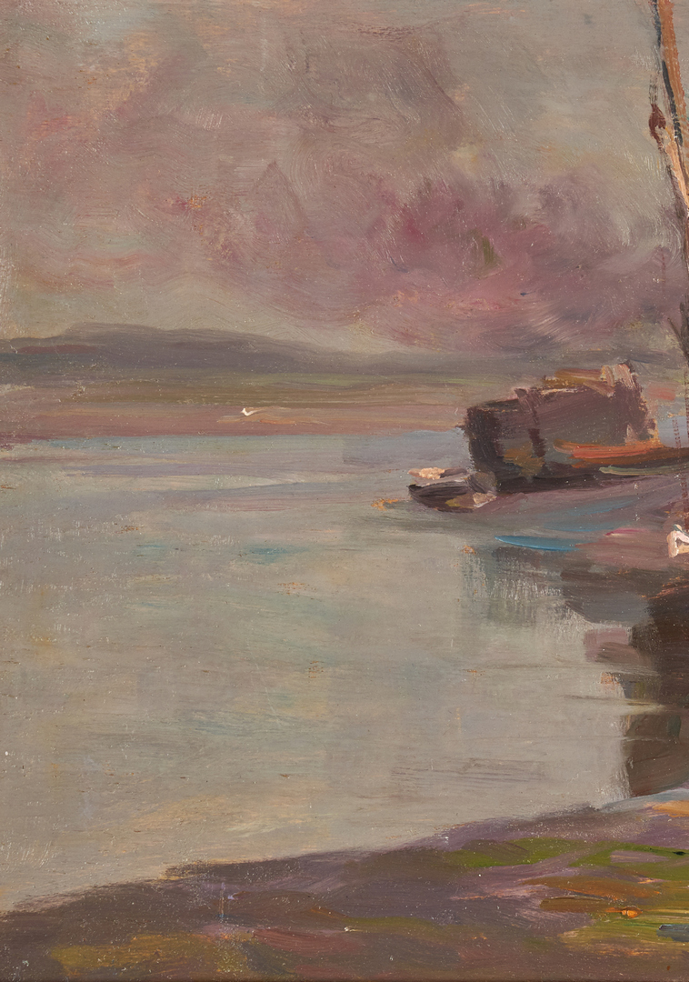 "Lot 672: Stephen Seymour Thomas Oil on Panel, ""Boats at Dock"""