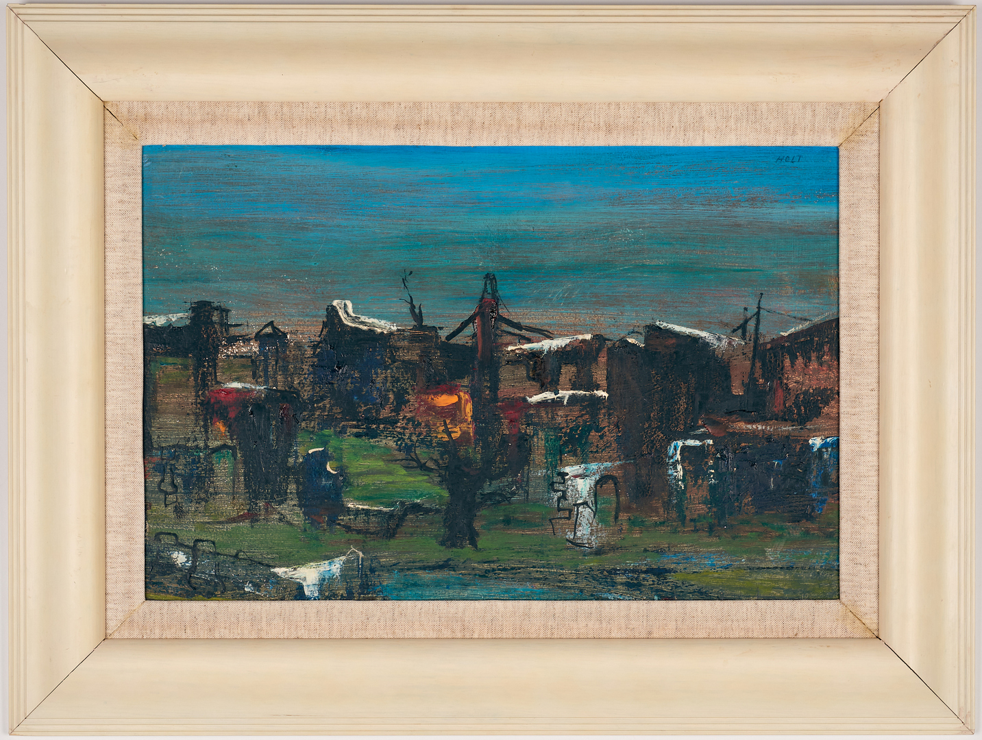 Lot 674: 2 American Oil Cityscape Paintings