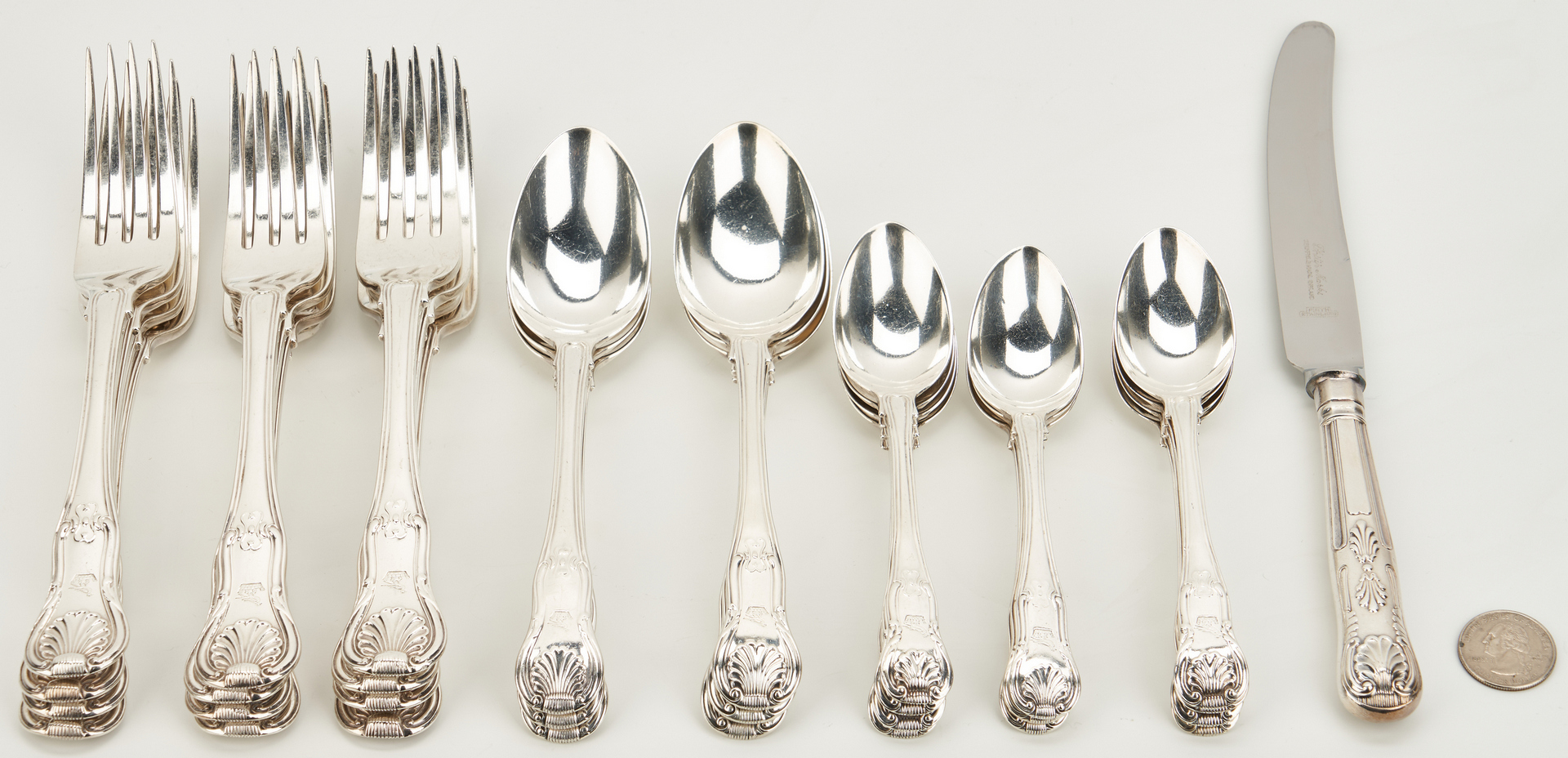 Lot 67: 30 pcs King Pattern Sterling Flatware: Eley & Fearn, Higgins