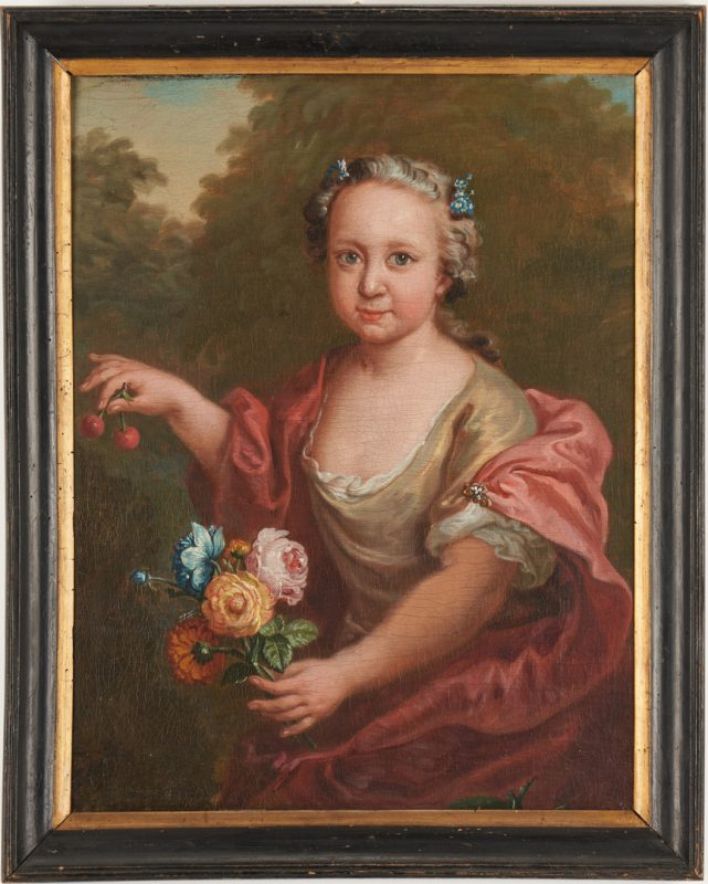 Lot 681: French School 18th C. oil, Girl w/ Cherries and Flowers
