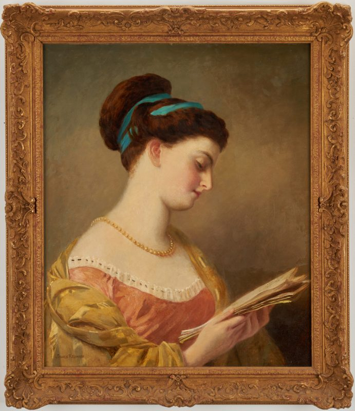 Lot 683: James Redmore O/C Portrait of a Young Woman Reading