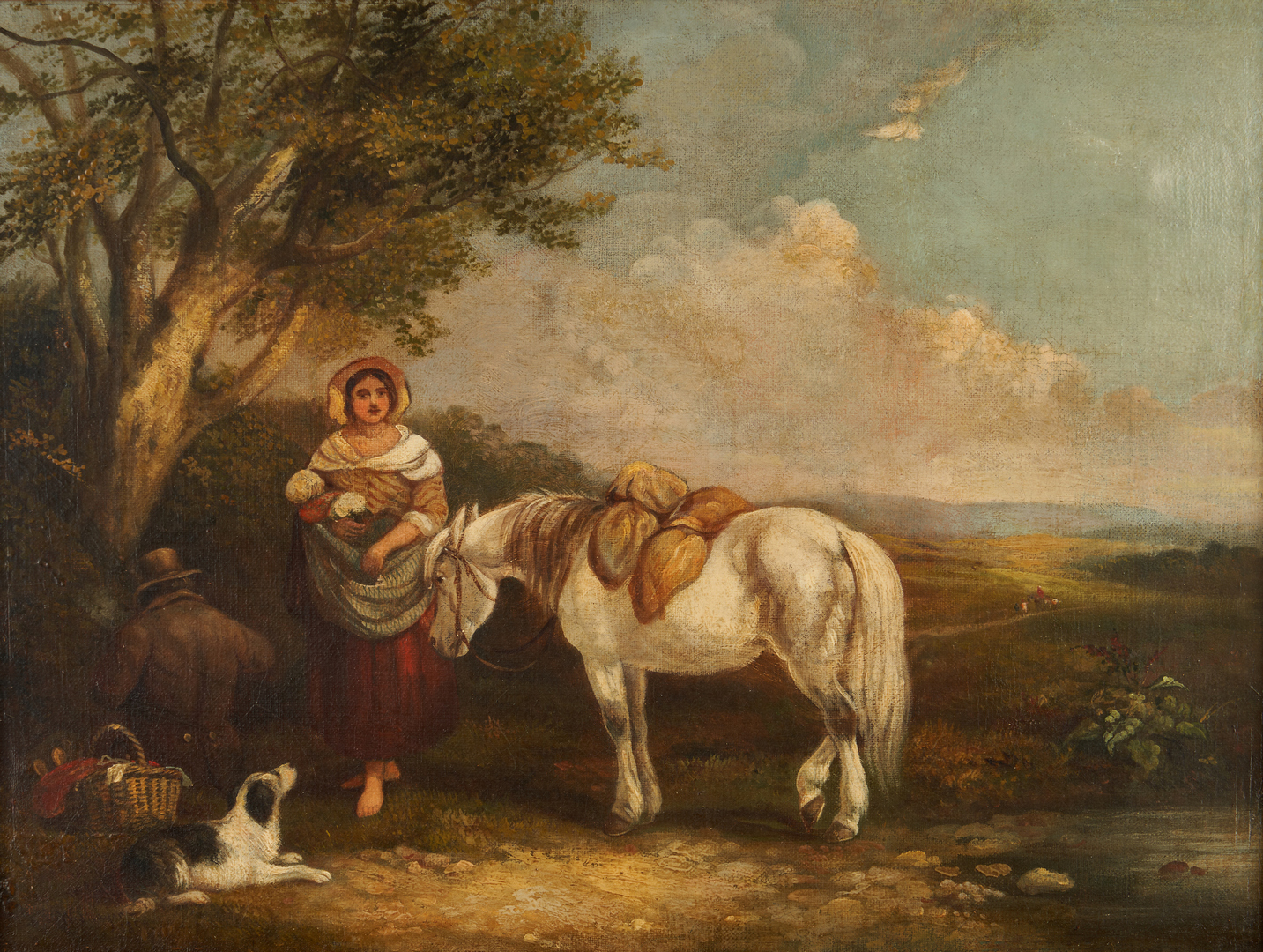 "Lot 684: William Shayer O/C, ""An Outing"""