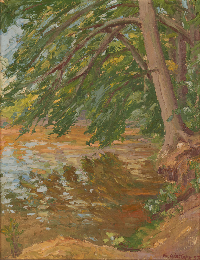 Lot 688: Attr. Friedrich Walter, O/B Landscape with Tree and River