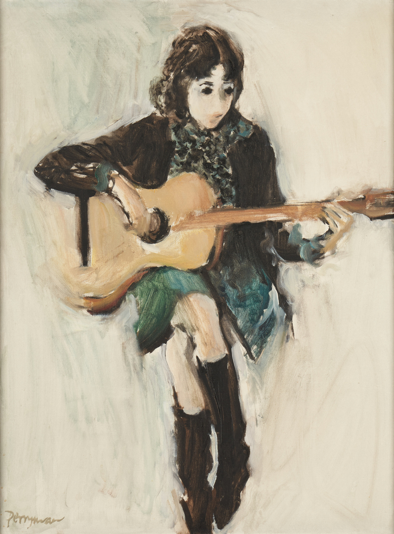 Lot 689: Norman Perryman Painting O/C, Girl With Guitar