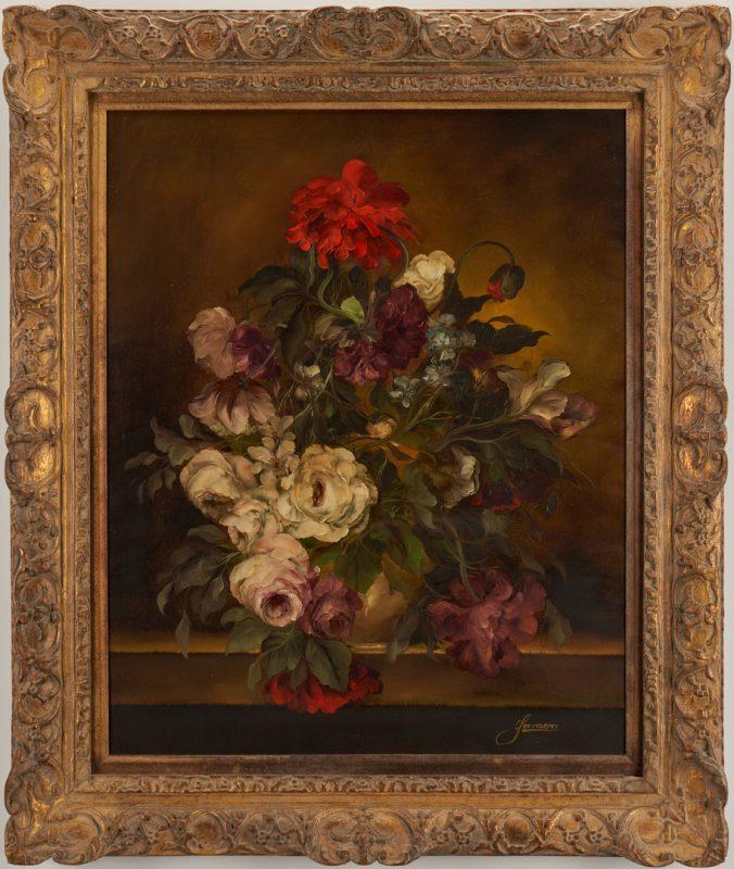 Lot 691: Large O/C Floral Still Life Painting, H. Garossa