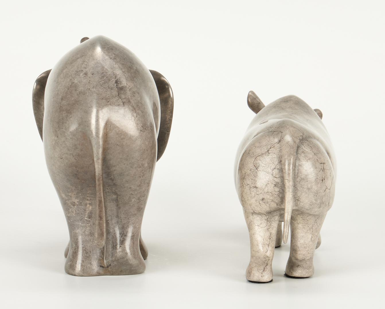 Lot 693: Loet Vanderveen Elephant and Rhino Figurines