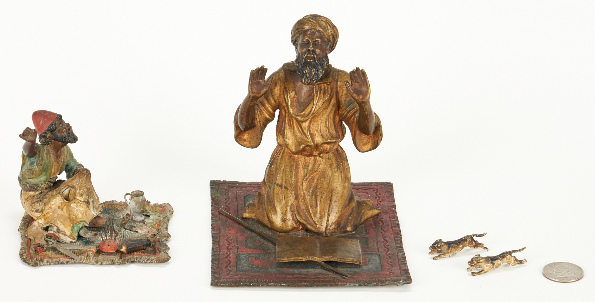 Lot 695: 2 Cold Painted Bronze Orientalist Figures