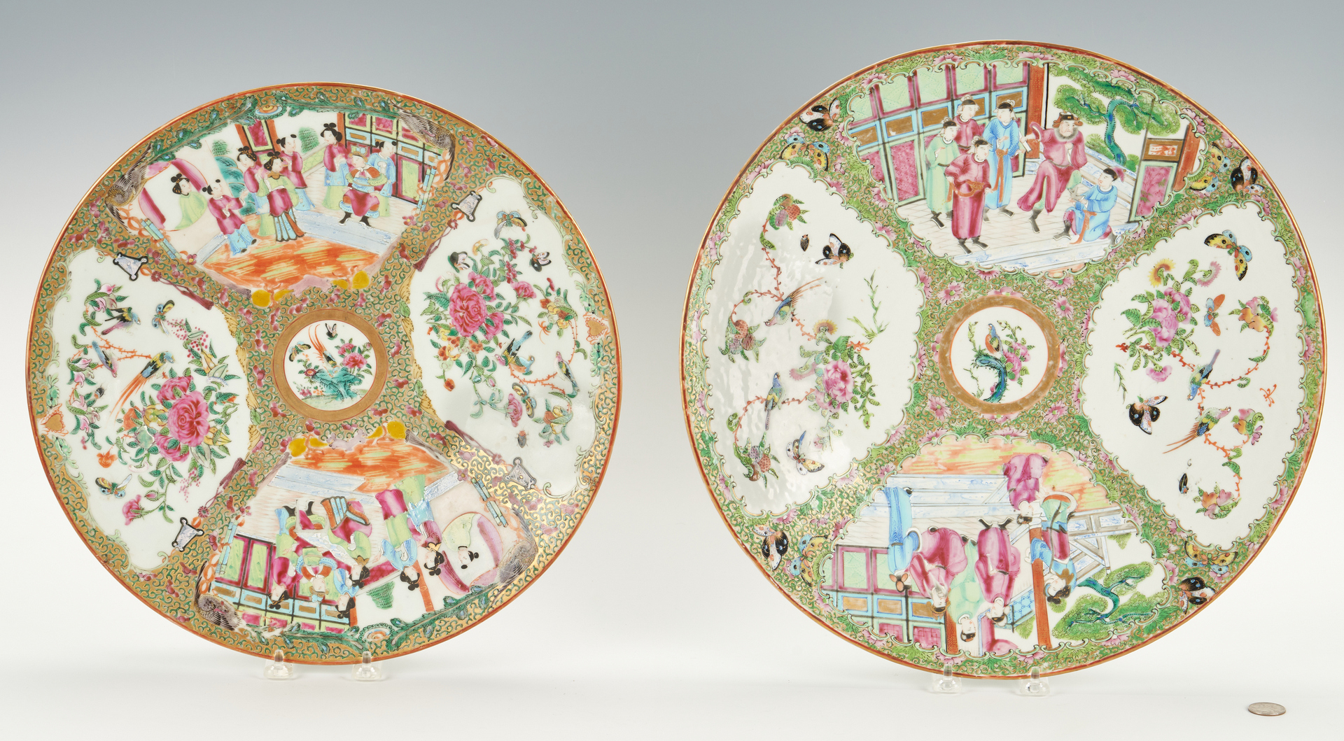 Lot 6: 2 Large 19th Century Rose Medallion Chargers