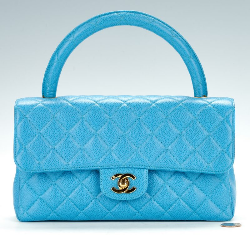 Lot 700: Chanel Kelly Top Handle Turquoise Bag, Medium