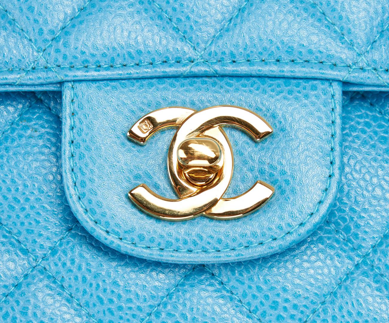 Lot 700: Chanel Kelly Top Handle Turquoise Bag, Medium