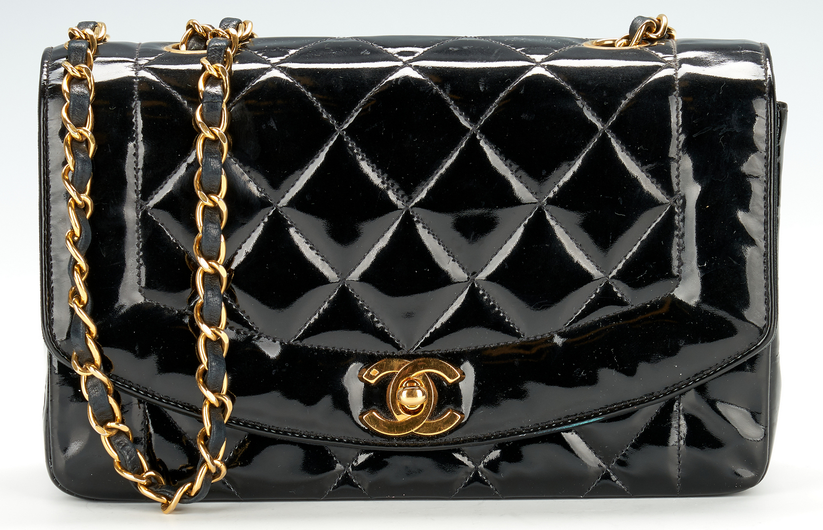 Lot 701: Chanel Diana Quilted Patent Single Flap Bag, Small