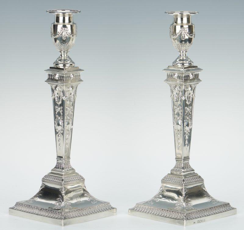 Lot 70: Pair English Sterling Candlesticks, J & H Savory