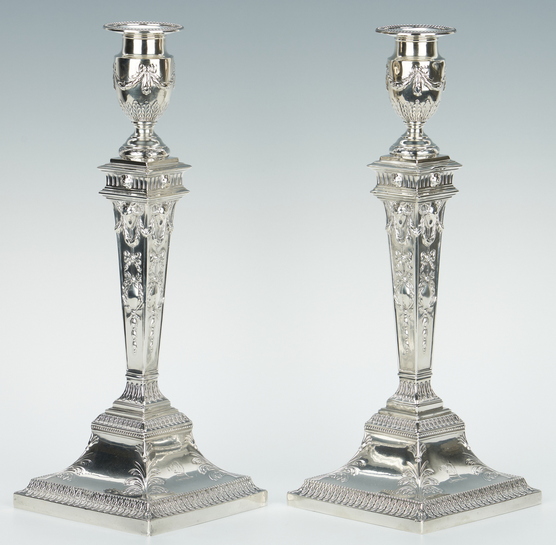 Lot 70: Pair English Sterling Candlesticks, J & H Savory