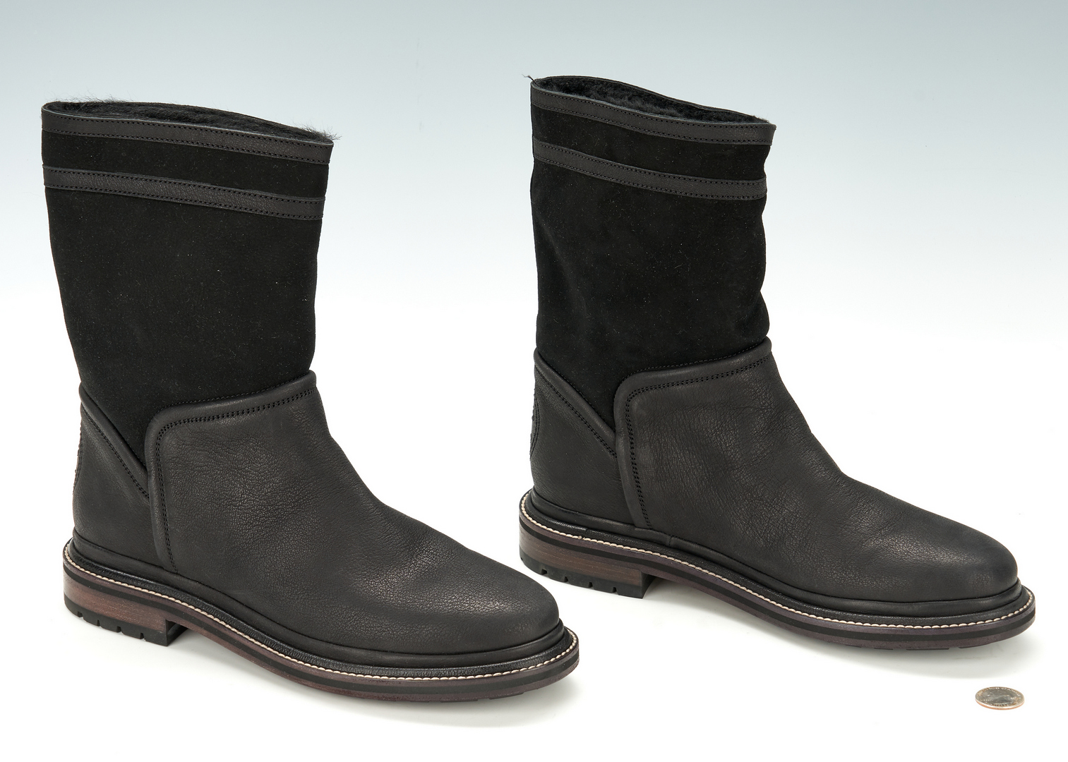 Lot 710: Ladies Chanel Black and Suede Mid-Calf Boots