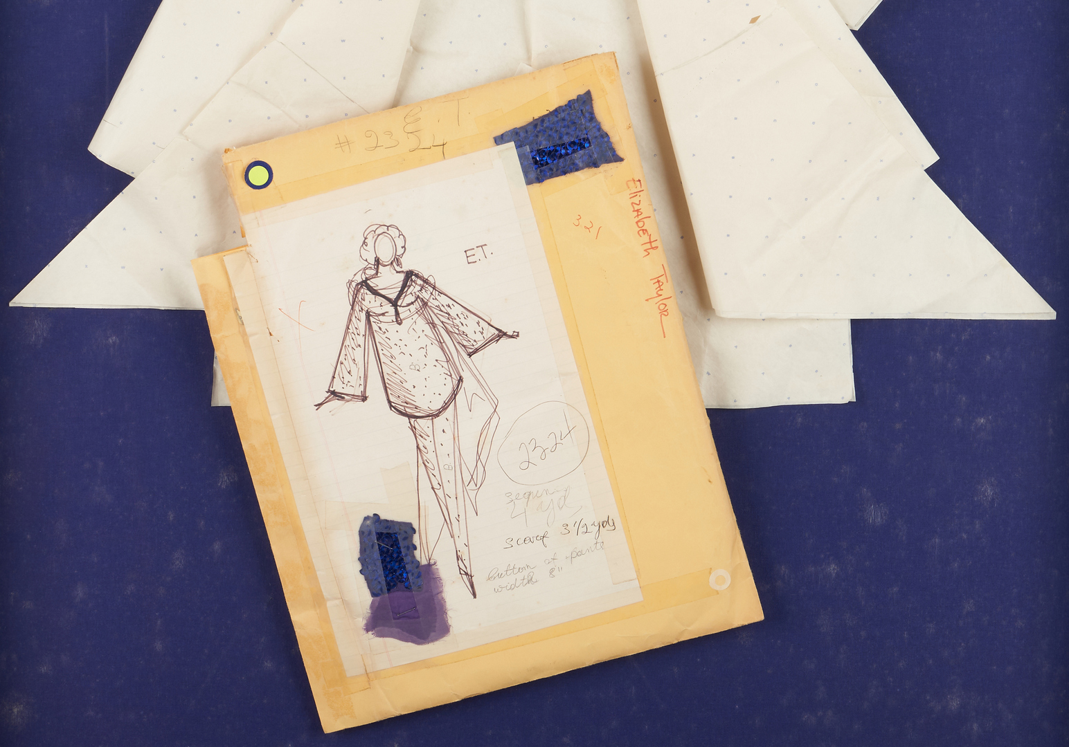 Lot 720: 2 Framed Halston Hollywood Dress Sketches and Patterns