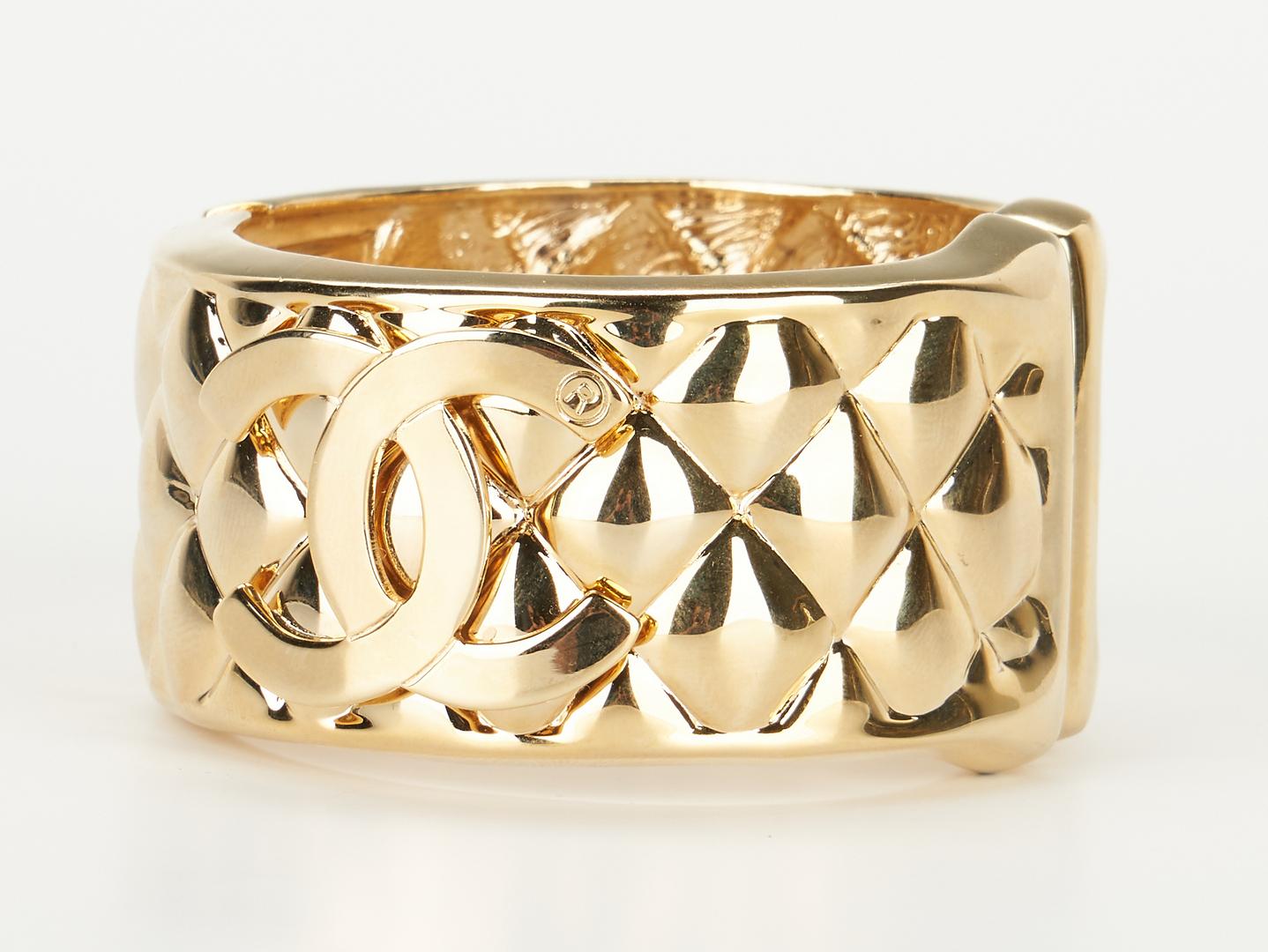 Lot 721: Vintage Chanel Quilted Logo Bangle Bracelet