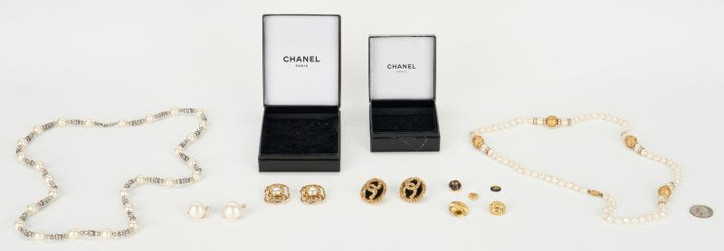 Lot 722: 12 Chanel Designer Costume Jewelry Items & More