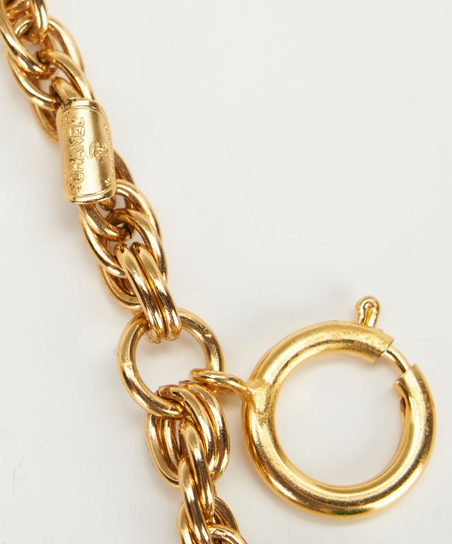 Lot 723: Chanel Gripoix Red & Green Gold Tone Charm Bracelet