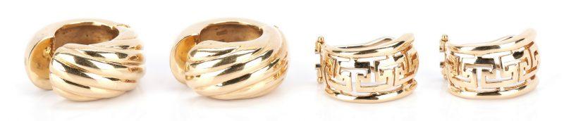 Lot 725: 2 14K Gold Pairs of Earrings, 1 Greek Key & 1 Huggie