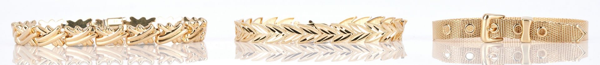 Lot 727: 3 Ladies Gold Bracelets, 10K & 14K
