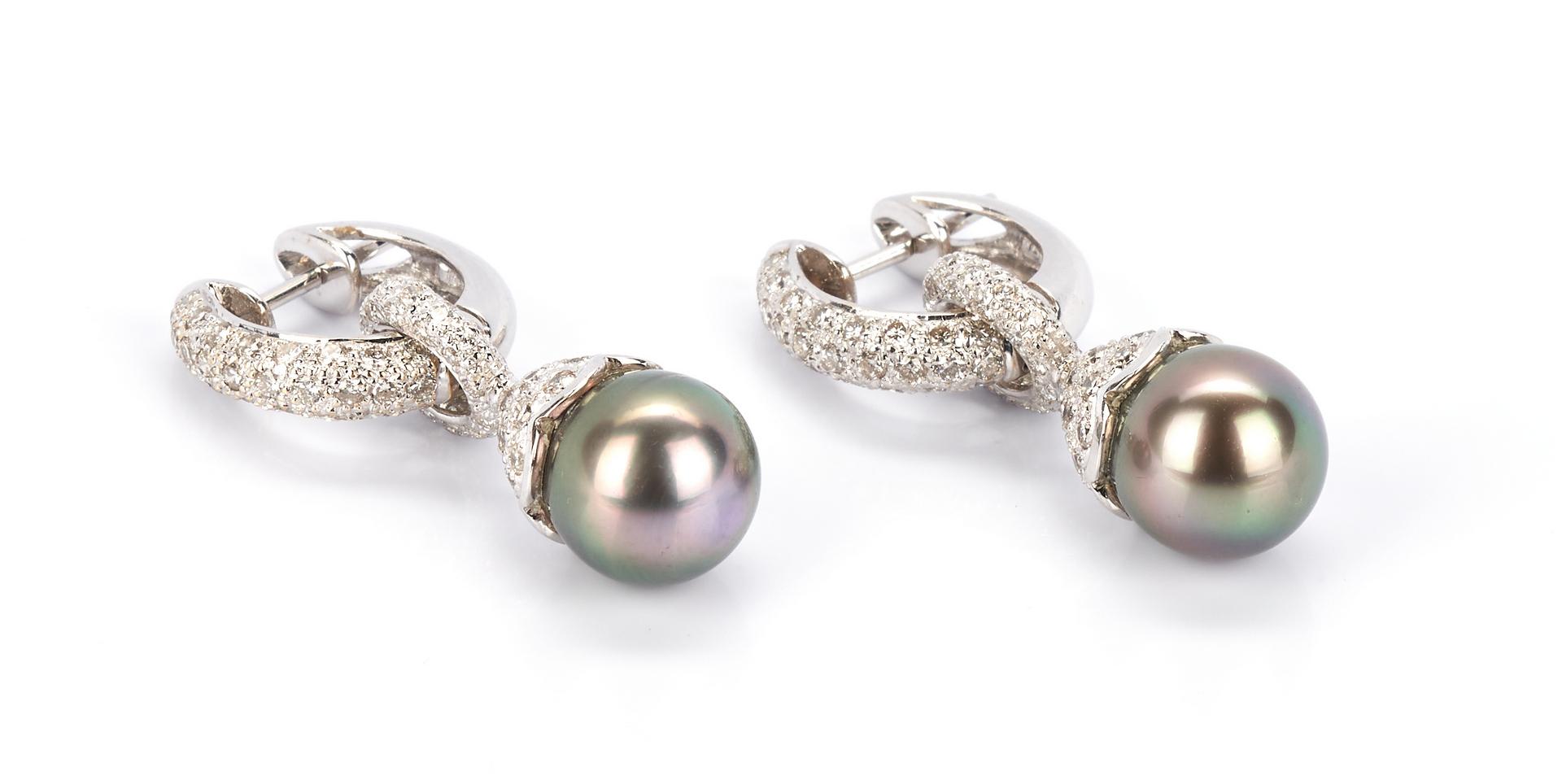 Lot 728: Ladies 18K Diamond Pave Hoop Earrings
