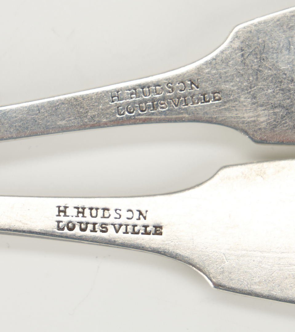 Lot 72: Louisville KY Coin Silver Ladle and 4 Spoons