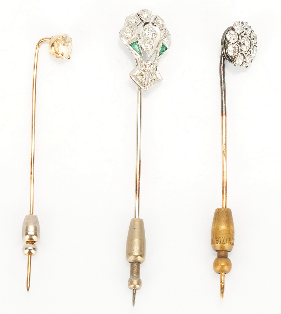 Lot 731: 3 Ladies Gold and Diamond Pins